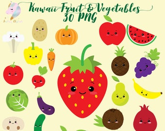 Cute Fruit Clipart Kawaii Vegetables Vegetable Clip Art Colorful Fruits Healthy Food Kids Set Planner Sticker Png Sweet