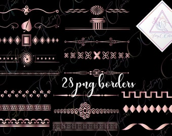 rose gold borders clipart in png format pink geometric dividers made by fantasy cliparts christmas digital decoration text separator 12