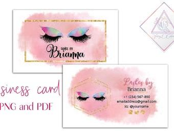6910f0001ec Lash business card, rose gold splashes, calling cards, loyalty card flyer,  unicorn lashes, gold glitter frame, geometric object, makeup arti