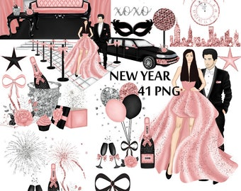 new years eve rose gold clipart silver glitter clip art fashion illustration black limousine new york ball drop champagne glasses con