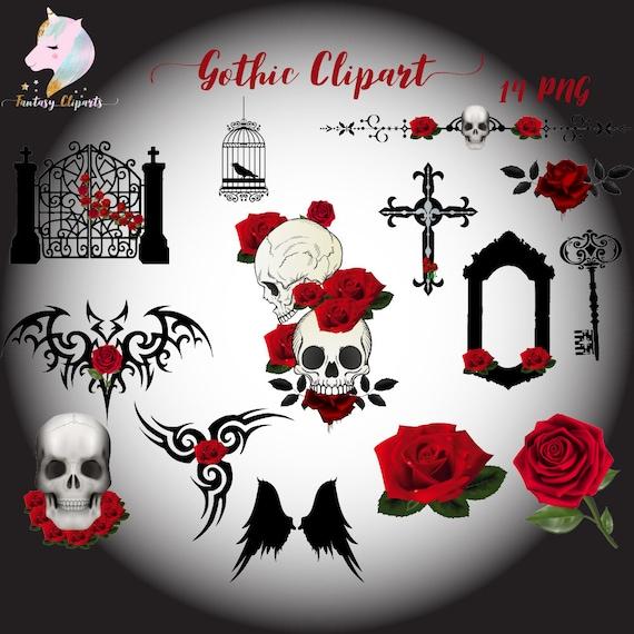 gothic clipart set gothic halloween gothic victorian art etsy rh etsy com gothic cross clipart american gothic clipart
