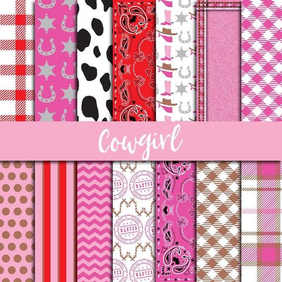 Cowgirl Paper Pack Digital Paper Western Scrapbook Cowgirl