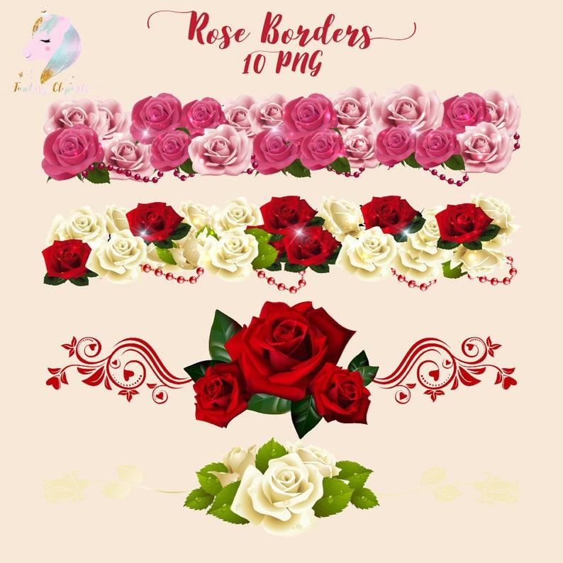 Rose Borders Flower Clipart Border Clip Art Floral Art Etsy