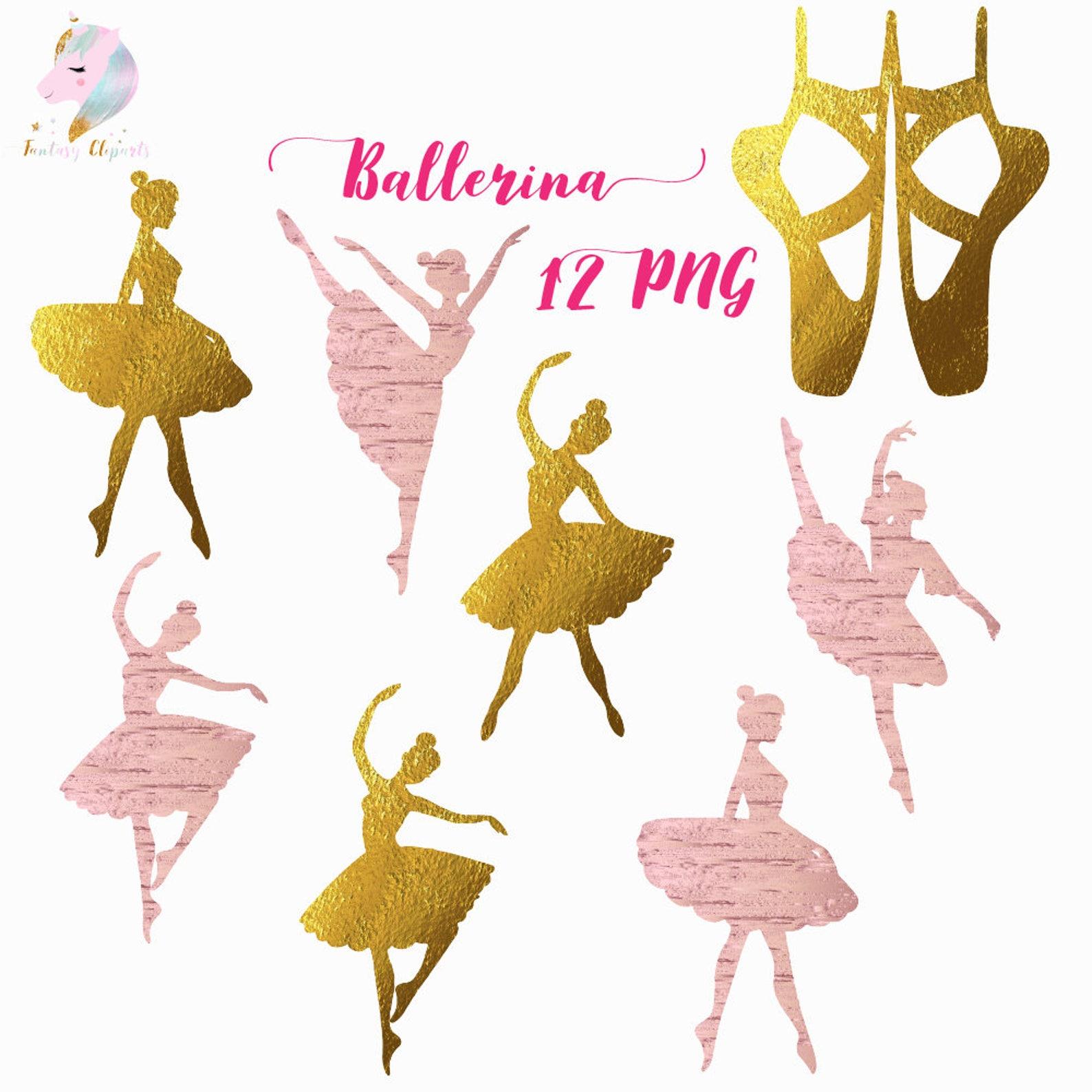ballerina silhouette, ballerina clipart, ballet clip art, gold foil graphics, rose gold ballerina, silhouettes clipart, dancing