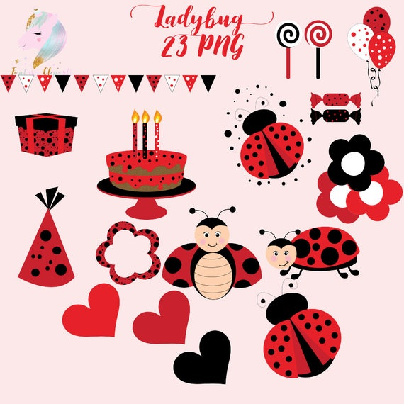 Awesome Ladybug Clipart Cute Ladybugs Set Red Frame Birthday Cake Funny Birthday Cards Online Bapapcheapnameinfo