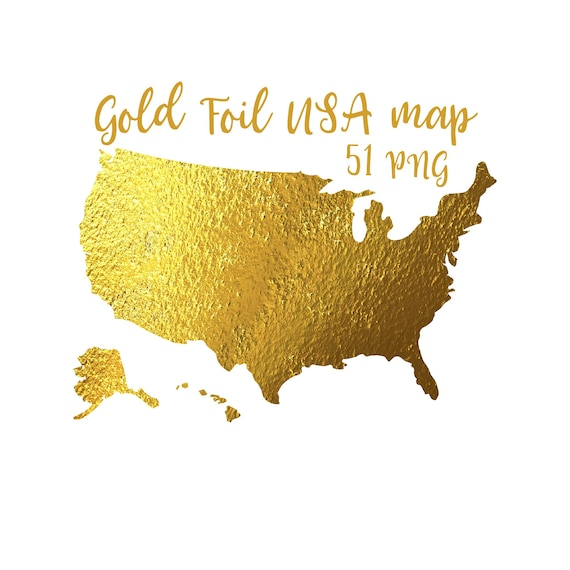 Gold Foil Usa Map American States Map Golden Maps Fantasy