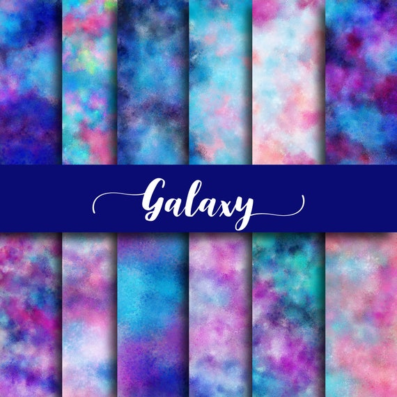 Galaxy Digital Paper Galaxy Backgrounds Watercolor Patterns Etsy