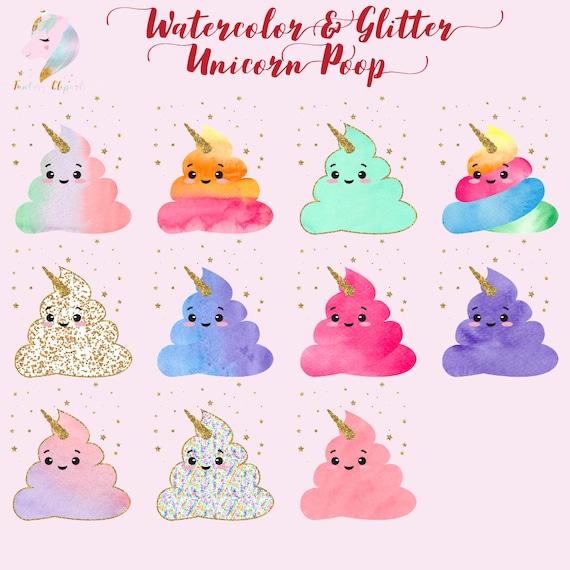 Unicorno Dellacquerello Unicorno Cacca Clipart Clipart Etsy