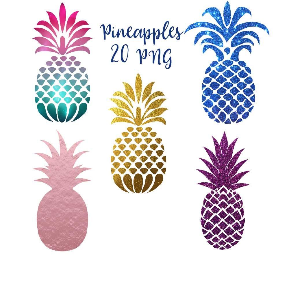 Pineapple clip art pineapples clipart tropical fruit   Etsy