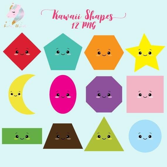 Kawaii shapes kawaii clipart shapes clip art teachers | Etsy