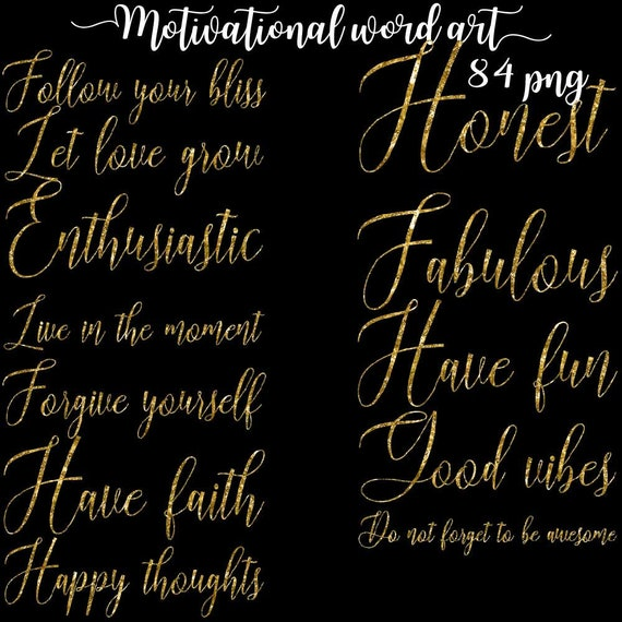 Motivational Words Motivation Word Art Nice Sayings Clipart Etsy Delectable Motivational Words