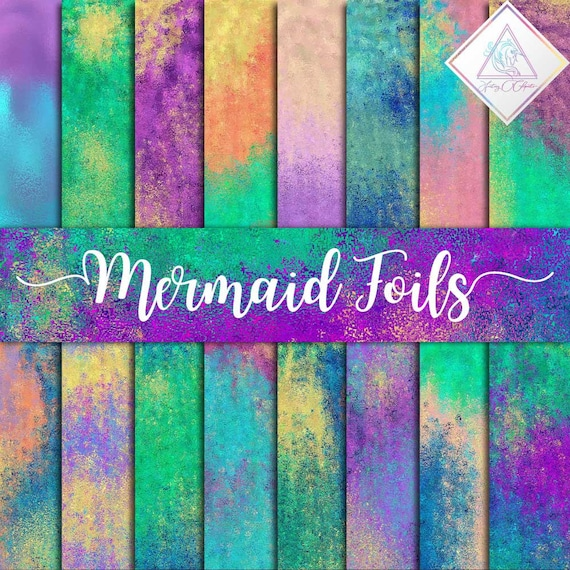 Mermaid Foils Digital Paper Abstract Backgrounds Siren Wallpapers Mermaids Textures Purple With Gold Aqua Green Foils Iridescent Pape By Fantasy Cliparts Catch My Party