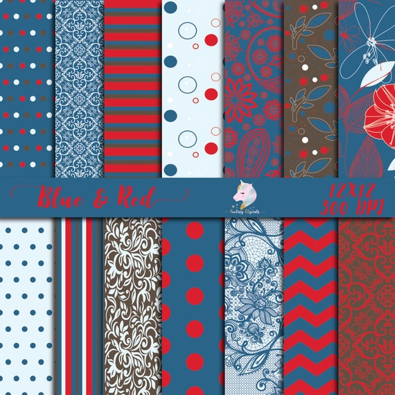 Blue Red Paper Pack Winter Digital Paper Floral Pattern Set Flower Background Paisley Lace Teal Damask Scrapbooking Paper 12x12 Print By Fantasy Cliparts Catch My Party