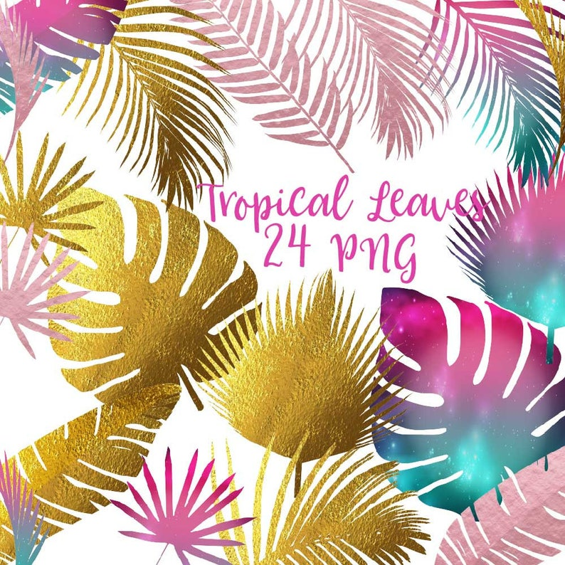 Tropical leaves, leaf clipart, tropical clip art, aloha hawaii, under the  sea, tropical plants, gold foil leaves, rose gold foil leaf, galax
