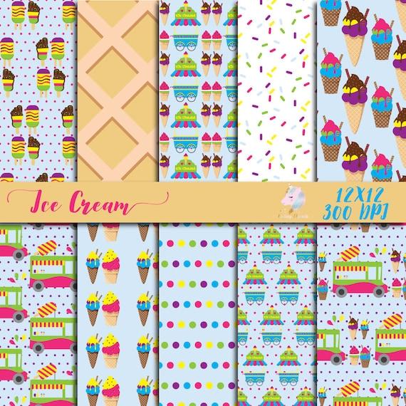 Ice Cream Paper Kids Digital Paper Children Scrapbook Etsy