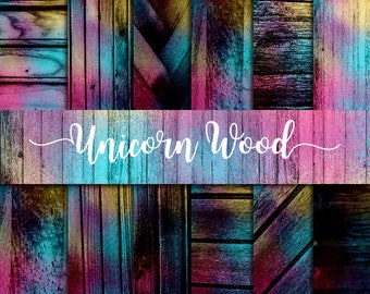 Unicorn wood texture, galaxy background, watercolor cosmic, pastel colors wood, wooden paper pack, whimsical pattern, fantasy cliparts,