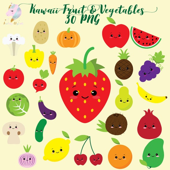 Cute Fruit Clipart Kawaii Vegetables Vegetable Clip Art Colorful Fruits Cute Healthy Food Kids Clipart Set Planner Sticker Png Sweet By Fantasy Cliparts Catch My Party