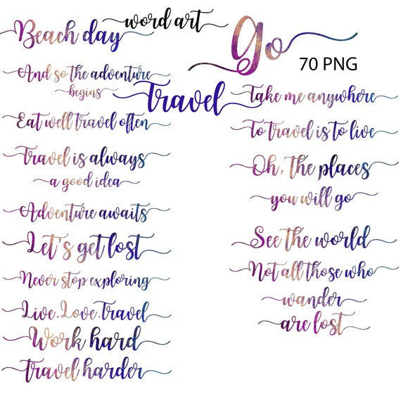 Travel Word Art Summer Clipart Common Phrases Vacation Etsy