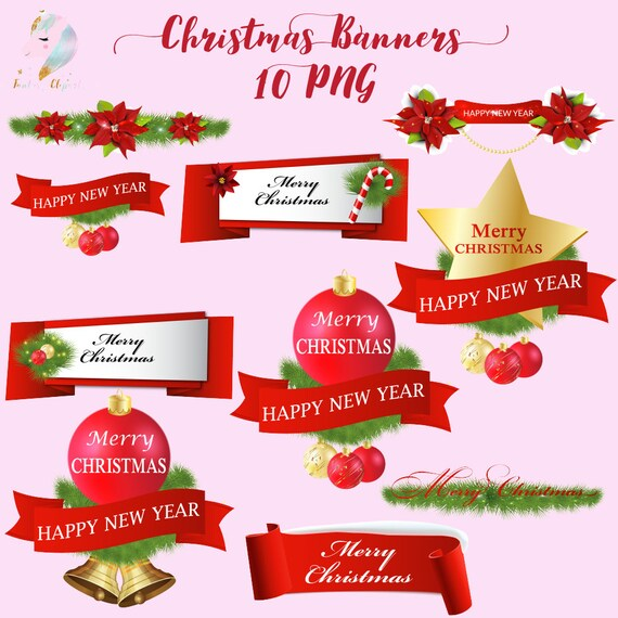 Christmas Banners.Christmas Banners Borders Clipart X Mas Clip Art Christmas Decoration New Year Decor Red Banner Merry Christmas Winter Clipart Holid