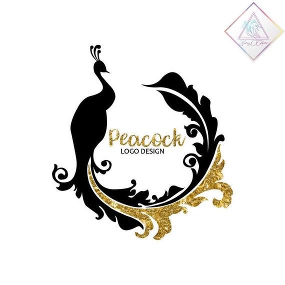 Black Elegant Peacock With Gold Glitter Details Logo Design