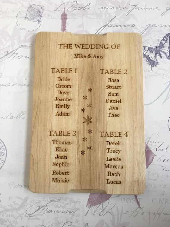 Wooden Engraved Table Plan Wedding Table Plan Small Wedding Etsy