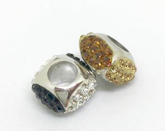 Amore and Baci Sterling Silver Swarovski Crystal Bead Charms