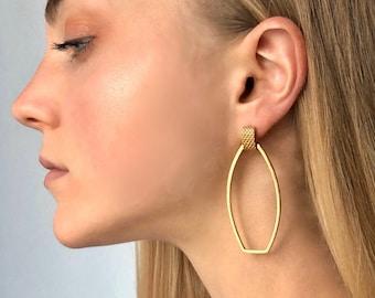 Studio K Mesh Pattern Oblong Earrings in Gold Vermeil, Sterling Silver or Custom Order in Solid Gold