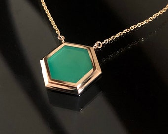 """14K Hexagonal Green Onyx Pendant with 14K Gold Chain - Available in Yellow, White & Rose Gold -Choice of 16"""", 18"""", 20"""" chain - Custom Order"""