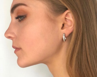 Diamond Hoop Earrings - Solid Gold 14K Latch Back Earrings  - Sold with Appraisal - Gift for Her -