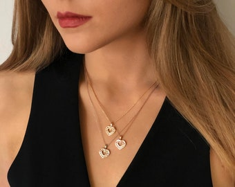 Double Heart Diamond Pendant - 14K Solid Gold Heart Pendant - Valentine Gift - Available in Yellow, White and Rose Gold with Optional Chain