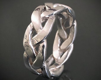 Unisex Braid Ring - Sterling Silver- Also Available in Yellow, White or Rose Gold as Custom Order - Statement Ring