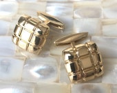 Solid 14K Gold Retro Style Square Cuff Links - Handmade Findings - Available for Custom Order - Gift for Him -
