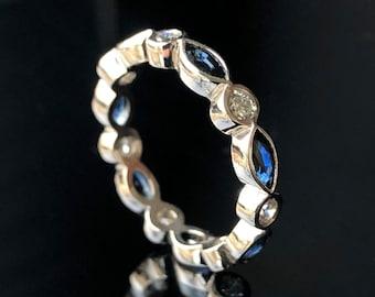 Sapphire Diamond Platinum Ring - Marquise Sapphire Diamond Band - Sapphire Diamond Wedding Band - Stacking Ring - Eternity Band