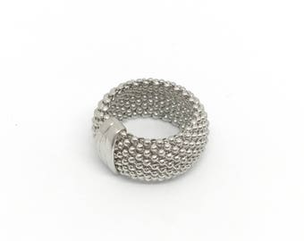 Sterling Silver Mesh Ring with Wide Band