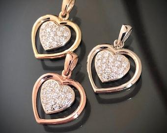 Floating Heart Diamond Pendant - 14K Pavé Set Diamond Heart - Valentine Heart - Custom Order Available in 14K Yellow, White and Rose Gold
