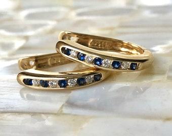 Diamond Sapphire Hoop Earrings - 14K Gold Hoop Earrings - Mini Hoops set with Diamonds and Sapphires -