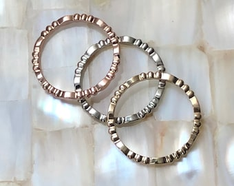 Jordana Stacking Ring - Solid Gold Stacking Rings - Available in 10, 14 and 18K Yellow, White & Rose Gold - Custom Order