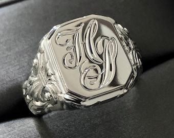 Custom Order Sterling Silver Signet Ring -Unisex Ring - Also Available in 10K, 14K & 18K Yellow, White + Rose Gold