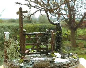 Bespoke Kissing gate diorama miniature snowy hand made scene