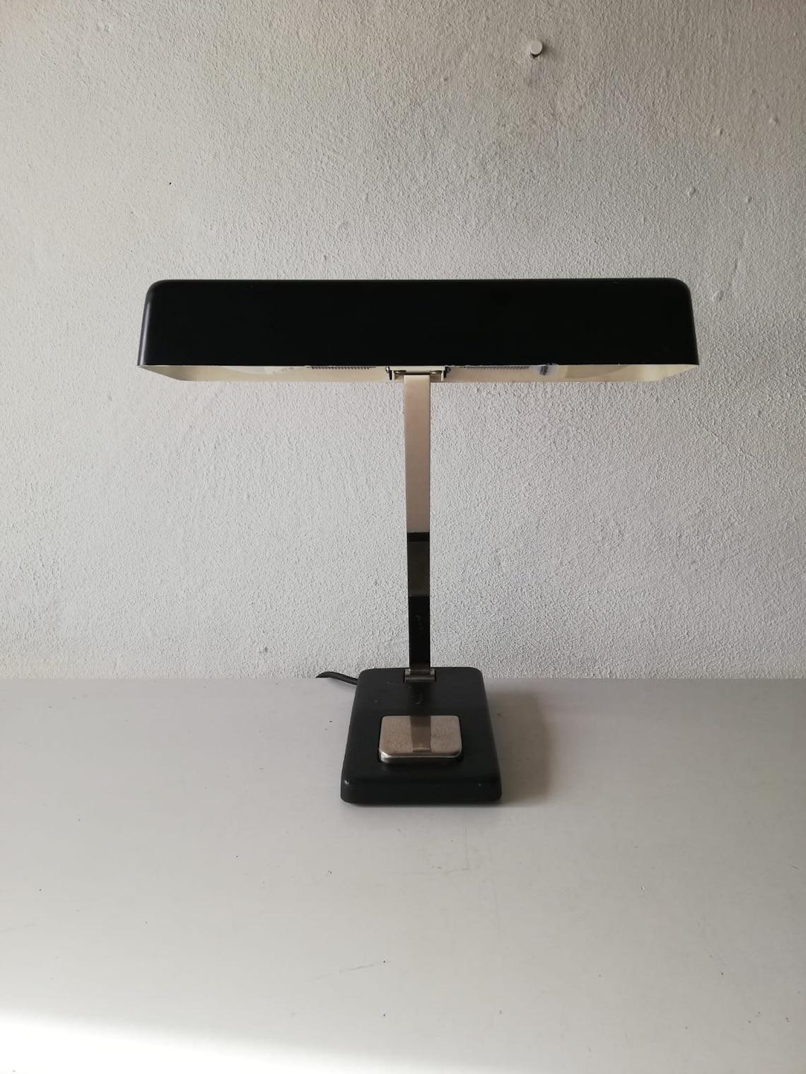 Hillebrand 2 socket black metal Table lamp - 1970s Germany