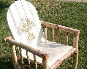 Handmade Rustic White Birch Chair with Celtic Tree design. Local pick-up only
