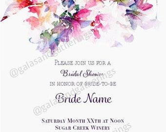 bridal shower invitation watercolor floral