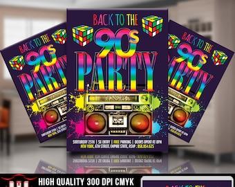 90s Party Invitation 80s Invitations Throwback Flyer Design Night Retro Back To The Birthday