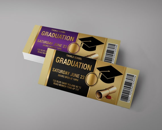 graduation event tickets design graduation invitation ticket etsy