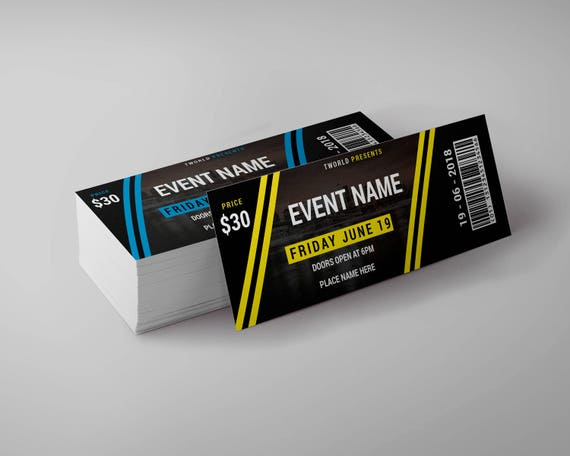 tickets design template event ticket party ticket etsy