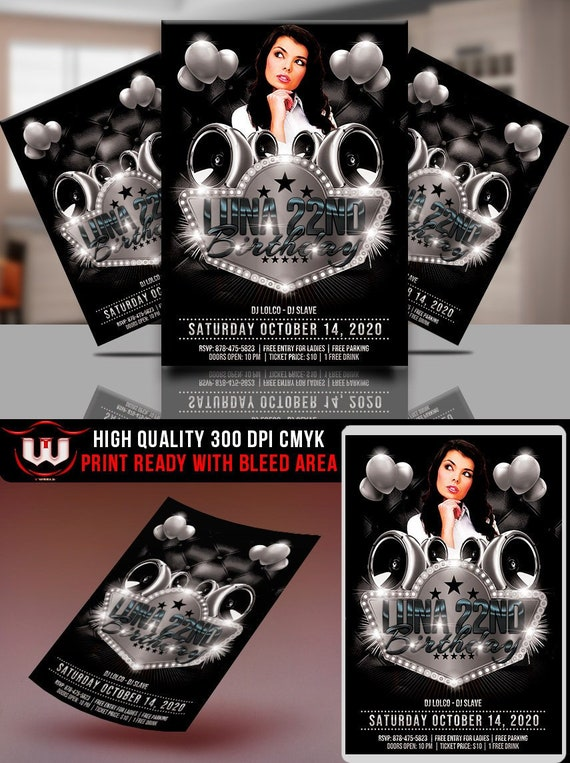 black and white party invitation template black white club etsy