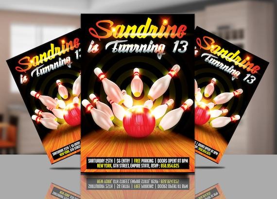 bowling birthday invitation bowling invitations flyer etsy