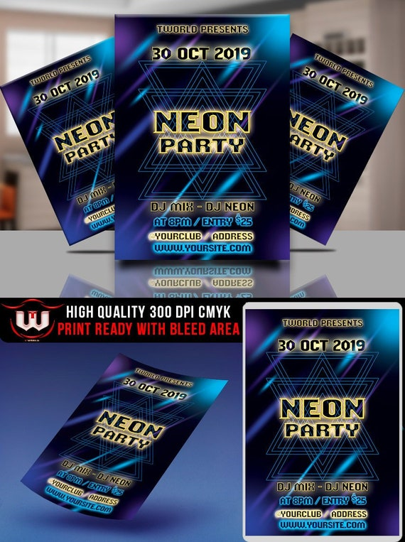 Neon Party Flyer Glow Party Invitation Glow In The Dark Etsy