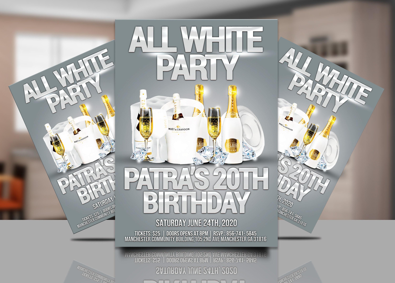 All White party Invitation Flyer white flyer white birthday | Etsy