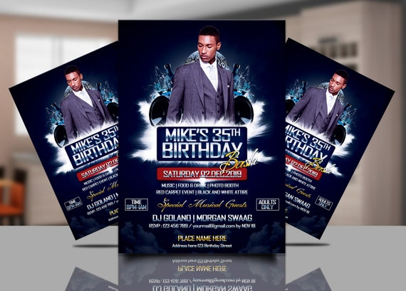 Birthday invitation flyer template birthday party psd 300 etsy image 0 filmwisefo